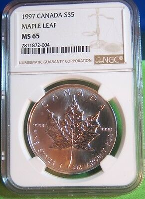 1997 Canadian Silver Maple Leaf 1 oz. NGC MS65 .9999 fine! Only 100,970 minted