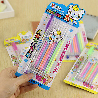 Watercolor 1 Pen With 8 Refill Colorful Gel Pen Set Highlighter School Office CN