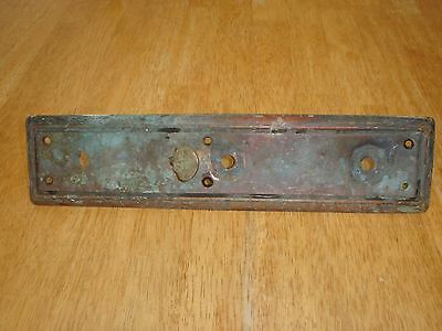 Antique Victorian Large Brass Door Handle Backplate w/ Thumb Lever Vintage Parts