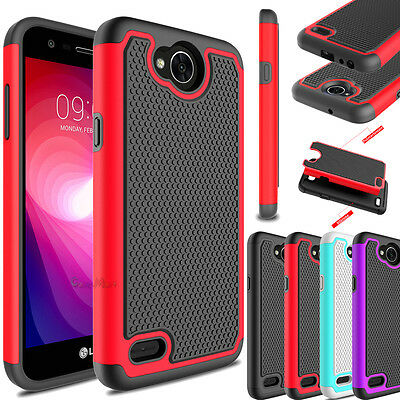 For LG Fiesta LTE Case Shockproof Hybrid Rubber Bumper Armor Hard Phone Cover