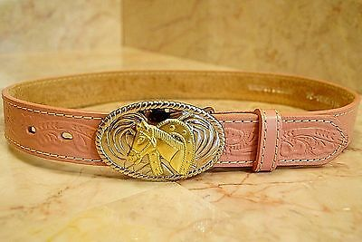 Girls Nocona Pink Tooled Leather Western Belt w/Horse Buckle Size 31.5 NWT