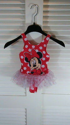 Disney Minnie Mouse Tutu Toddler Girls Size 5T Bathing Suit Swimsuit Red/White