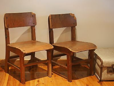 Vintage Wooden Timber Kids School Chairs- Set of 2- Craftsman Furniture Template