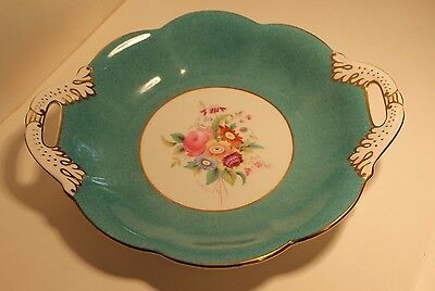 Coalport Hand Painted Vintage Green & Floral Bone China Biscuit Plate