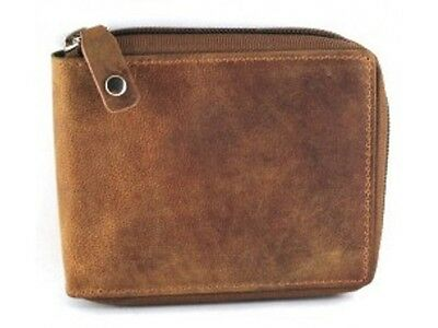 Zip Around Cow Hide Hunter Leather Men's Wallet 12011