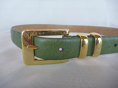 "Womens Leather Belt M  Perry Ellis Green Gold Tone Buckle Medium 28""-32"" Classy"