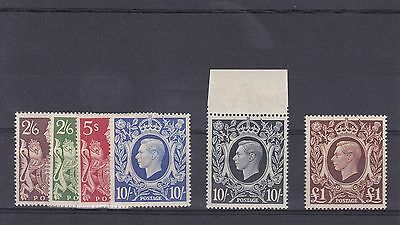 "GB91) GB 1939-48 ""Square"" High Values, mint unhinged. Very fine set"