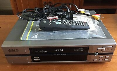 Akai VS-J200 VCR With Remote, Paperwork And Cords! VHS Tape Player