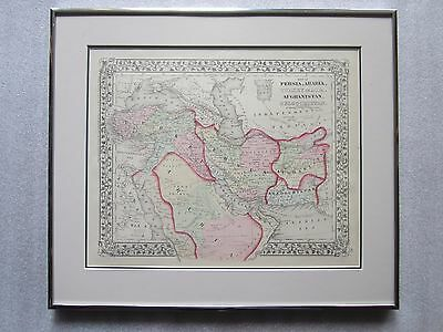 """Antique 1871 """"Map of Persia, Arabia, Turkey in Asia..."""" by S. Augustus Mitchell"""