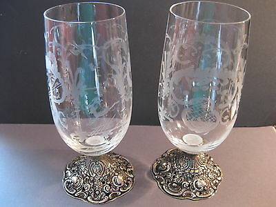 Pair of antique engraved silver footed beer glasses goblets 800 german hallmark