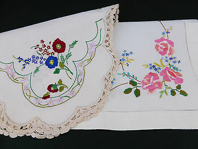 2 Vintage Linen Traycloths~Hand Embroidered Roses~Violas~Forgetmeknot Flowers