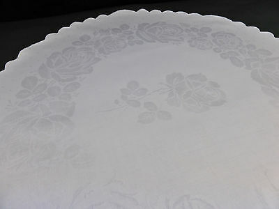 Large Antique Centrepiece Cloth~Silky Smooth Irish Linen Damask~Large Roses