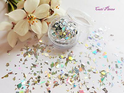 Nail Art Silver Holographic *ShatteR* Myler Flakes Cut Shape Pot Spangle Glitter