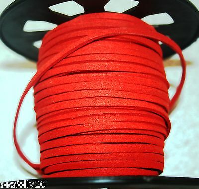 3 metres red NOT orange red  Suede Cord 3x1.5mm  - free post