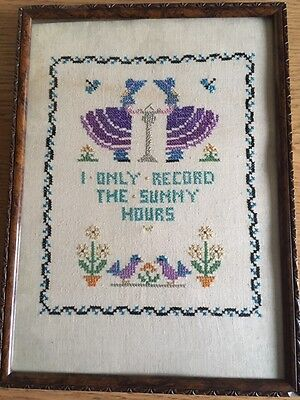 "Vintage Needlework Embroidery Sampler ""Only Record Sunny Hours"""