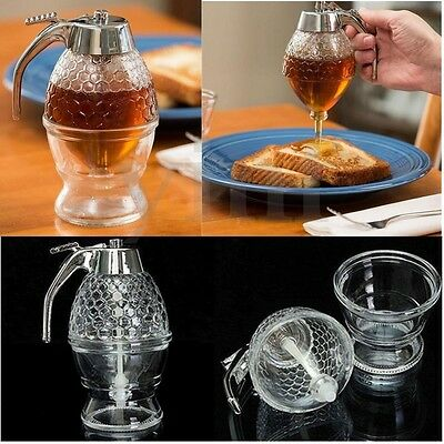 Clear Glass Honey Dispenser Container Cup Syrup Kitchen Bee Drip Stand Holder