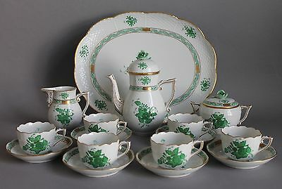 Antique Herend Chinese Bouquet Green 16 pc Coffee Mocha Service 6 Persons Cups