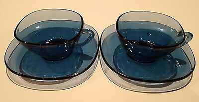 Vereco France Vintage Blue Glass Cup and Saucer x 2