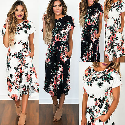 Women Summer Beach Short Sleeve Floral Dress Ladies Casual Party Cocktail Dress