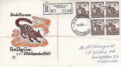 BD476) Australia 1960 Banded Ant-eater brown and orange cachet Royal FDC