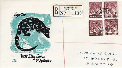 BD477) Australia 1960 Tiger Cat black and turquoise cachet Royal FDC