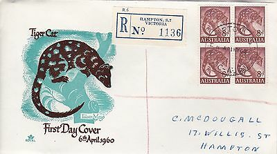 BD478) Australia 1960 Tiger Cat brown and turquoise cachet Royal FDC