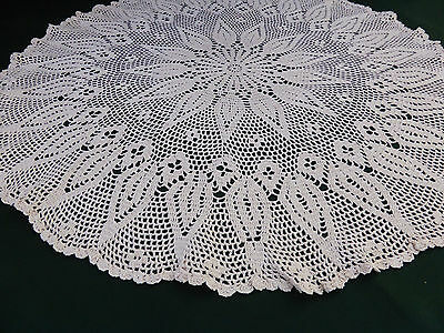 Antique Cutwork Irish Linen Small Oval Tablecloth-Hand Embroidered-Needle lace