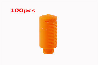 "100Pcs 3/8""BSP Male Plastic Pneumatic Muffler Noise Silencer Orange"
