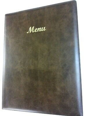 Qty 24 -A4 Menu Holder/cover/folder In Brown Leather Look Pvc - Classic Look
