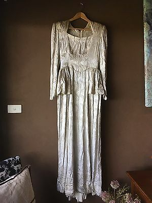 Hand Made Vintage Long Evening Dress Classic 1940s Style - Gold Thread Fabric
