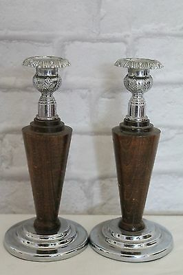 A Pair Of Heavy Ornate Vintage 1930's Mantle, Dining, Wooden Candle Sticks
