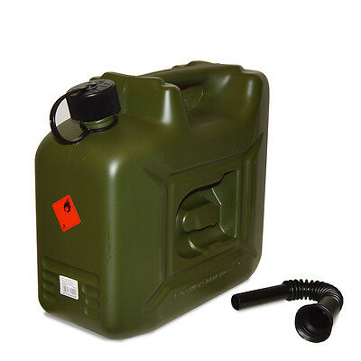 Heavy Duty 10 Litre Plastic Petrol Jerry Can Fuel Container Tank with Spout