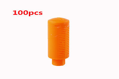 "100Pcs 1/2""PT Thread Pneumatic Muffler Silencer Noise Filter Orange Plastic"