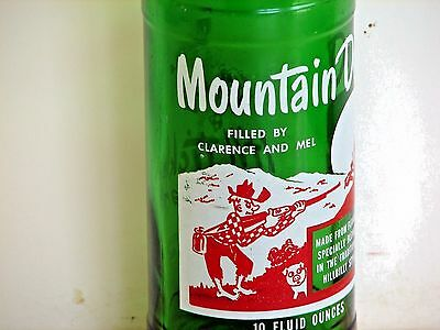 """Mountain Dew hillbilly ACL soda pop bottle: """"FILLED BY CLARENCE AND MEL"""""""