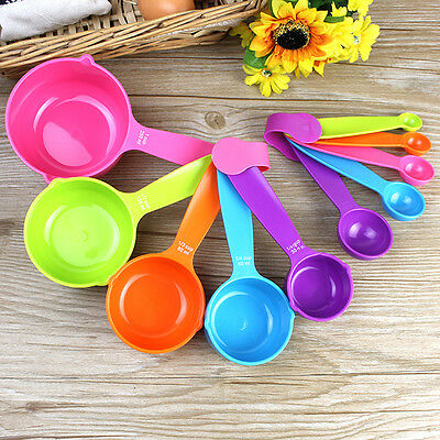 Measuring Spoon Plastic Teaspoon Scoop Tablespoon Utensil Kitchen Tool 5 Pcs/set
