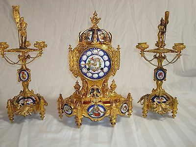 Gilt French Bronze Clock Set from mid - end 1800