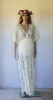 Beige Lace Butterfly Wing Maternity Dress - Photography Photo Prop