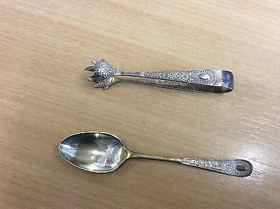 Vintage SILVER PLATED / EPNS SUGAR TONGS  CLAW END and matching spoon