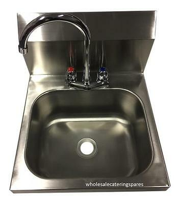 Wall Mounted Stainless Steel Catering Hand Wash Sink with Mixer Tap & waste NEW