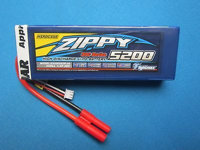 ZIPPY 5200mAh 2S 7.4V 30C 40C LIPO BATTERY HXT 4MM HARDCASE ROAR CAR TRUCK BUGGY