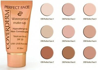 Coverderm Perfect Face Waterproof Make Up Spf 20 24h Lasting Choose Shade 30ml