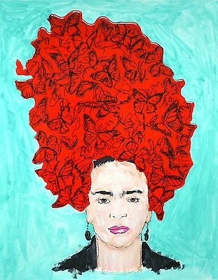 Frida Kahlo Artwork Portrait of Famous Artist with Butterfly Hat Red and Teal