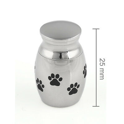 Mini Polished Stainless Steel Pet Urn Cremation Ashes Dog Paws Keepsake Silver