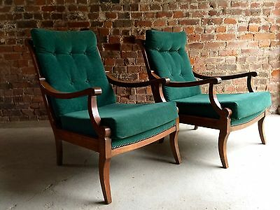 Magnificent Antique Armchairs Pair Victorian Beech 19th Century Continental