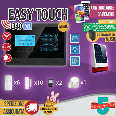 Kit Antifurto Casa Allarme Touch Screen Combinatore Gsm Wireless Easytouch340Xl