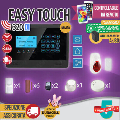 Kit Antifurto Casa Allarme Touch Screen Combinatore Gsm Wireless Easytouch320Lm