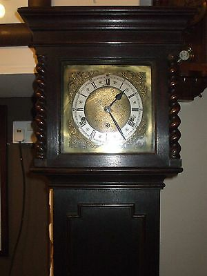 Oak Grandmother Clock With Westminster Chimes, Brass Dial, Barley Twist Supports