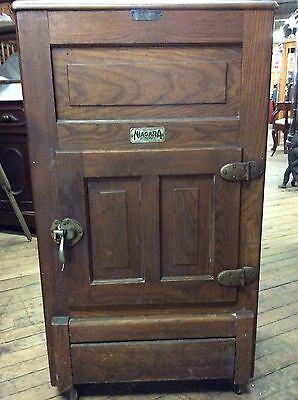 19th C Oak Niagara Ice Box Heinz & Munschauer 39""
