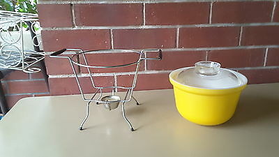 Vintage Crown  Pyrex  Yellow Pot Lid Wire Frame Candle Warmer