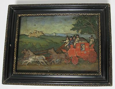 Antique 19Th Century English Folk Art Stagecoach Painting Sculpture Bas Relief